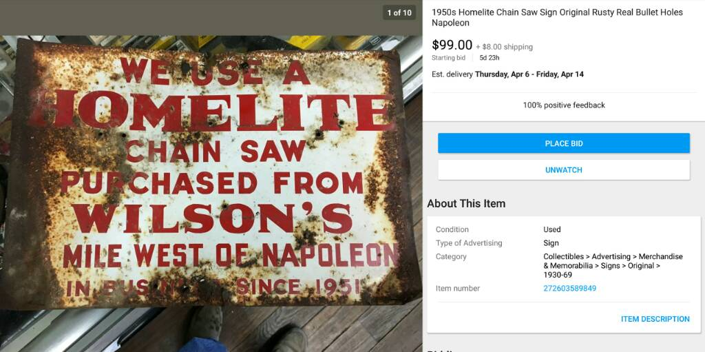 A piece of history owilsons chainsaw repair metal sign found this on ebay and joyce asked me to share it pretty neat greentooth