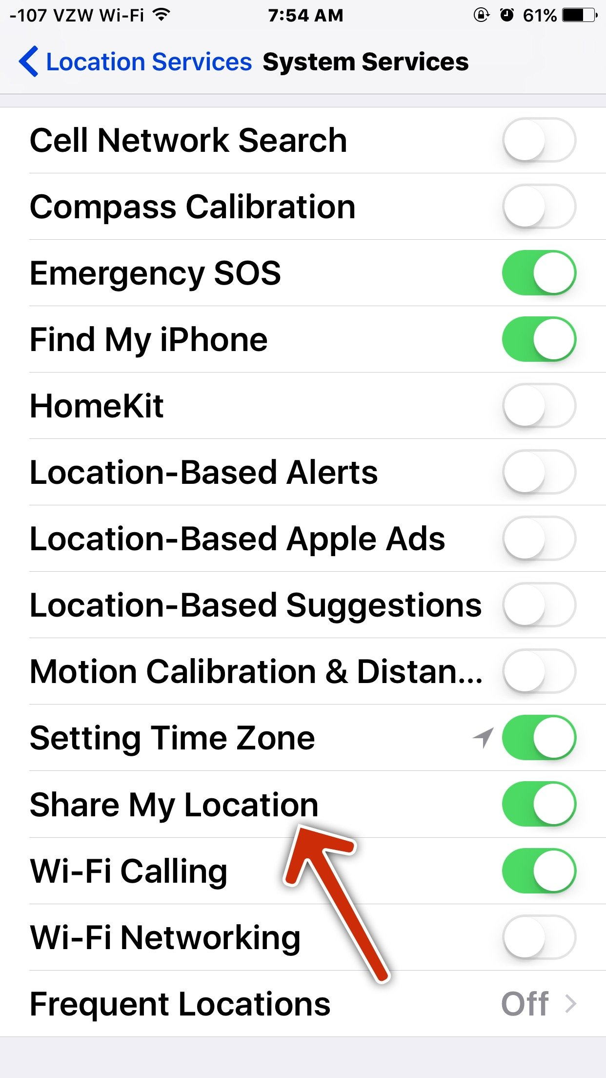 I turned my location on indefinitely for my wife and it doesn't show