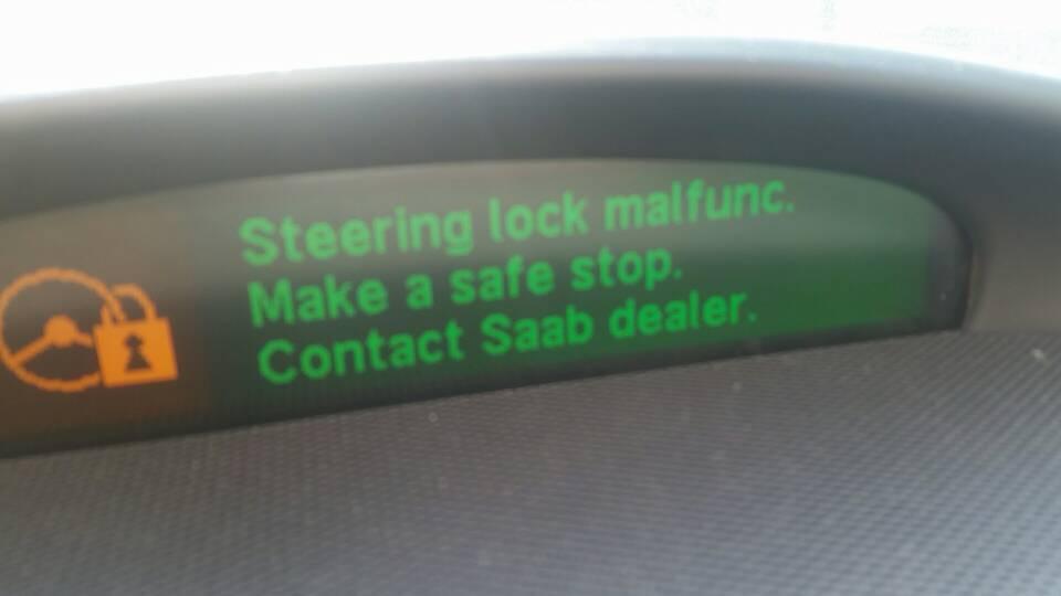 Steering Lock Malfunction Message