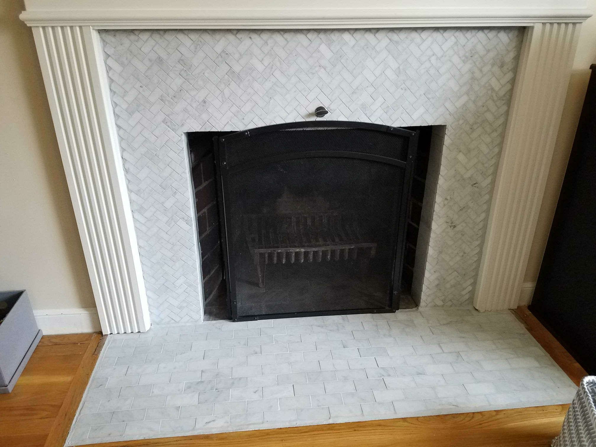 Refacing A Brick Fireplace, How To Reface A Brick Fireplace With Tile