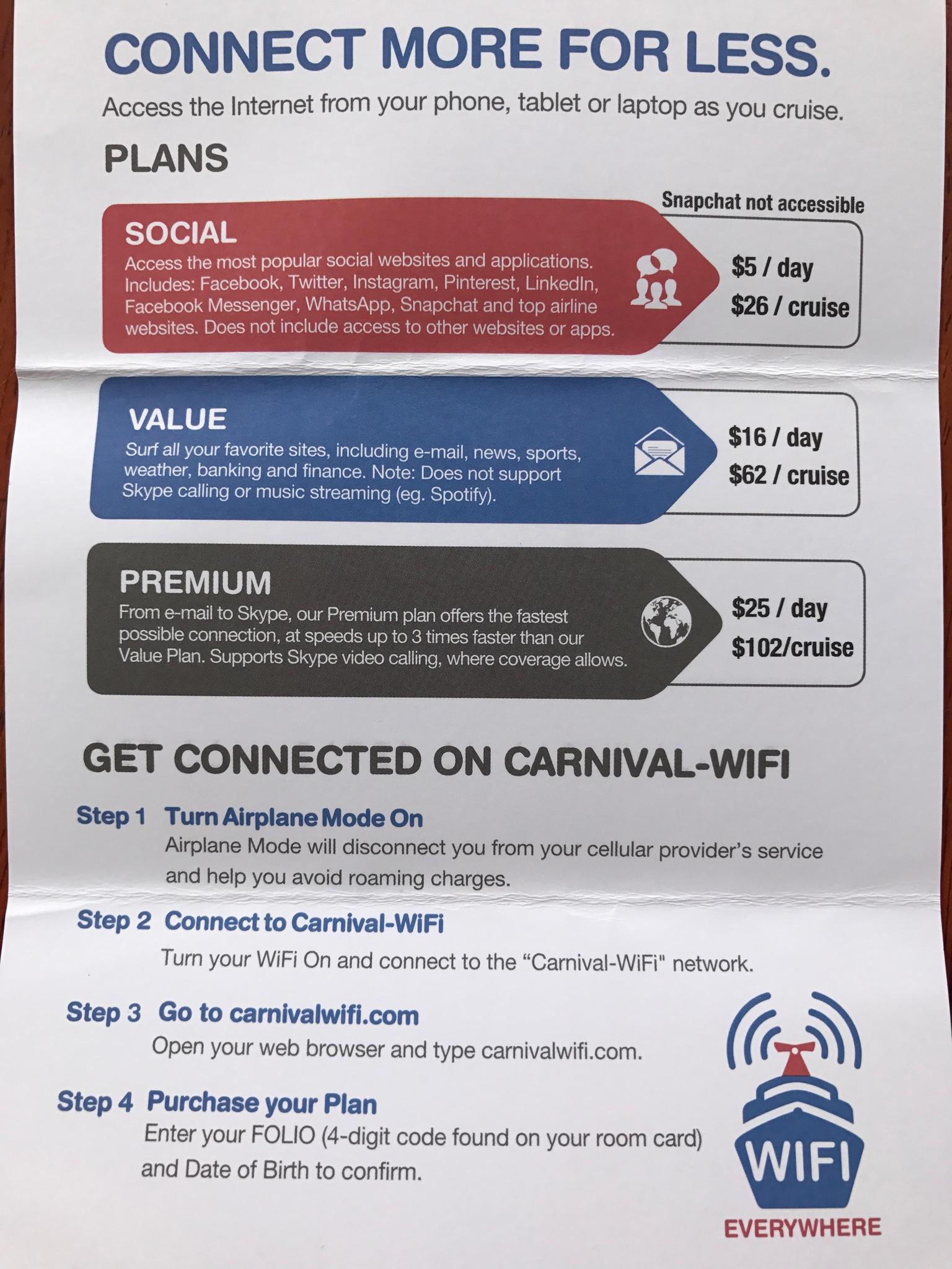 Carnival Pride wifi - Carnival Cruise Lines - Cruise Critic