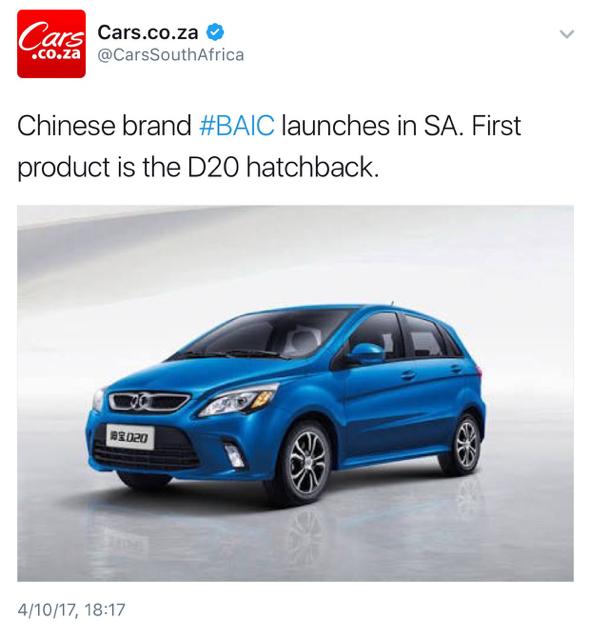 new car releases in saNew Chinese Car Brand in SA BAIC pronounced Bike