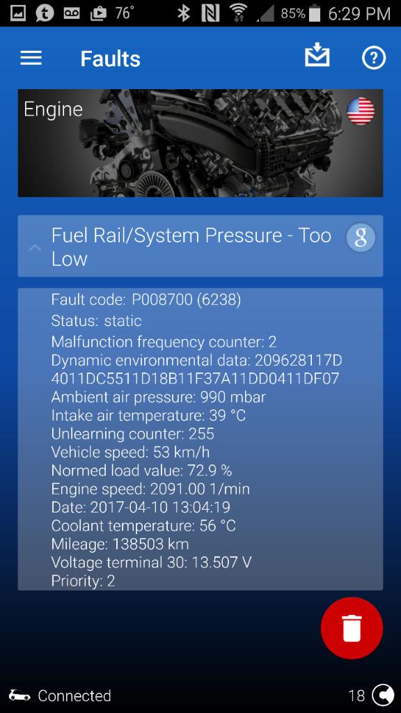 fuel rail system pressure too low