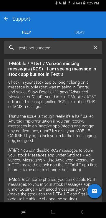 T-Mobile Galaxy S8 Textra Stopped Receiving Texts - Android