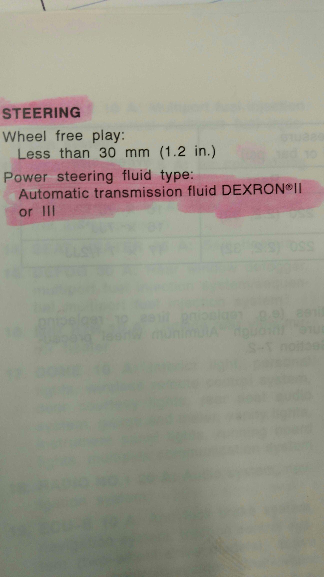 Power steering fluid type? - Toyota 4Runner Forum - Largest