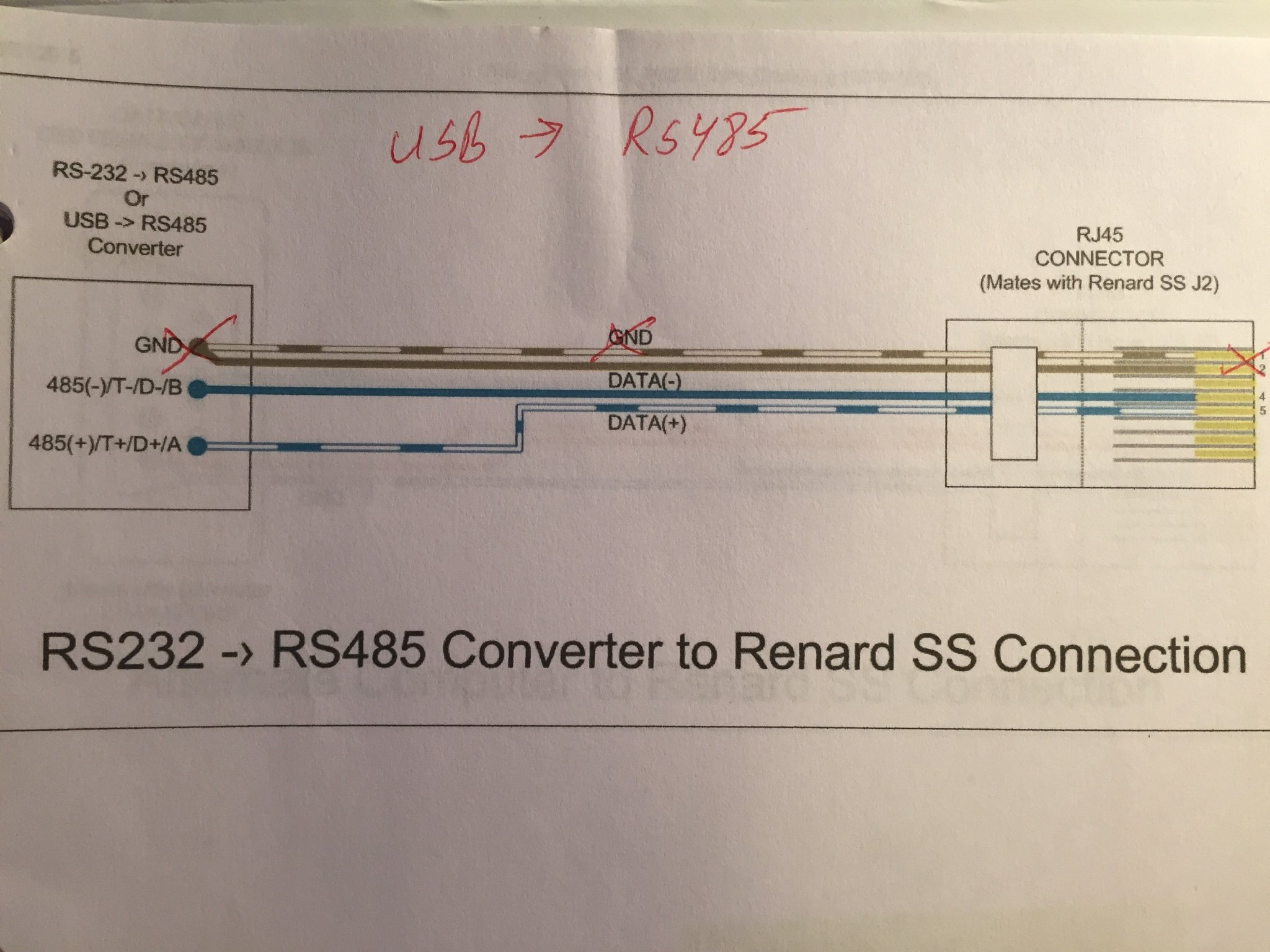 Will a USB to RS485 adapter with two terminals work with a SS16