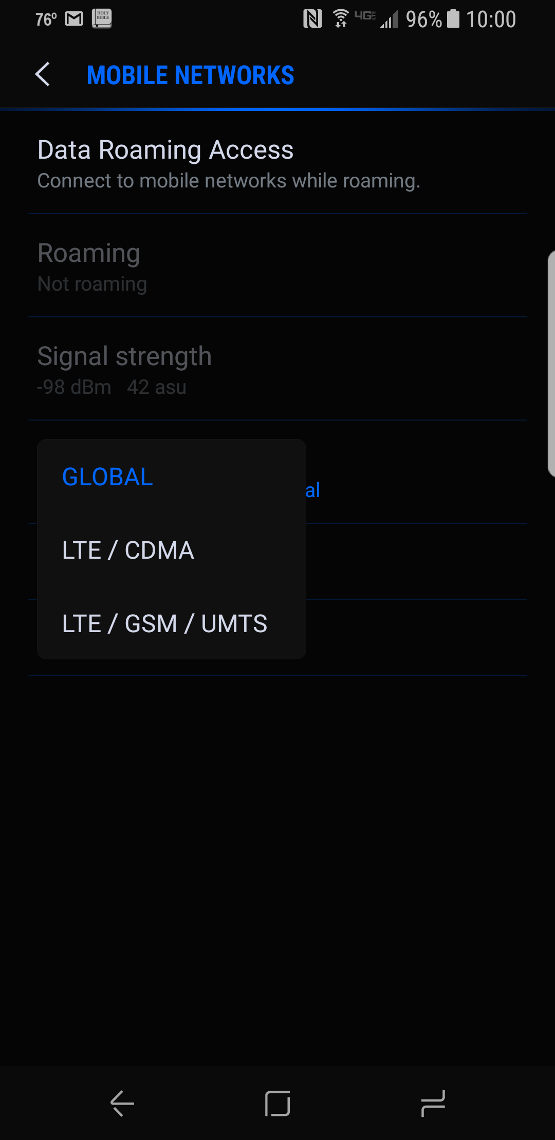 Verizon Galaxy S8 Do you select Global, or the other options