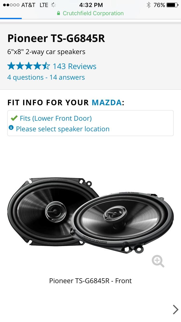 NC) Good 6x8 speakers? Recommendations? - MX-5 Miata Forum