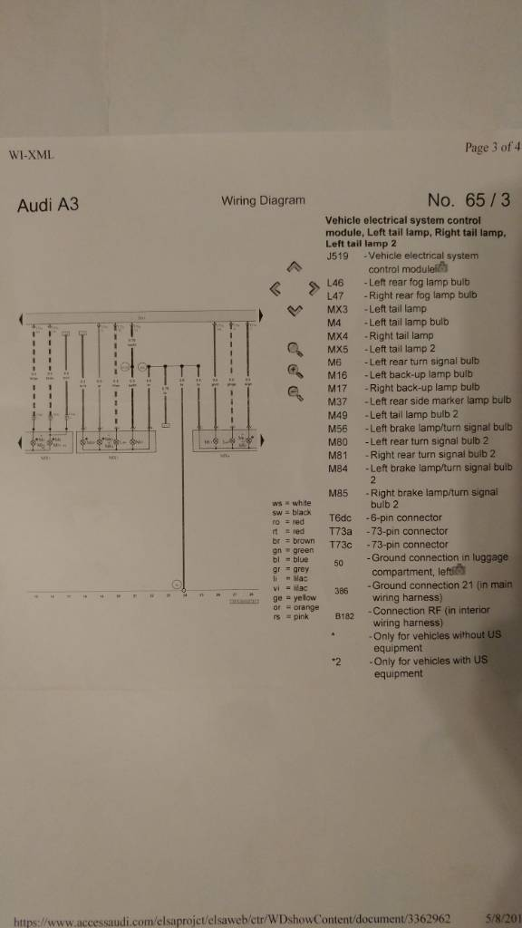 2015 2016 Audi A3 Tail Light Wiring Diagram
