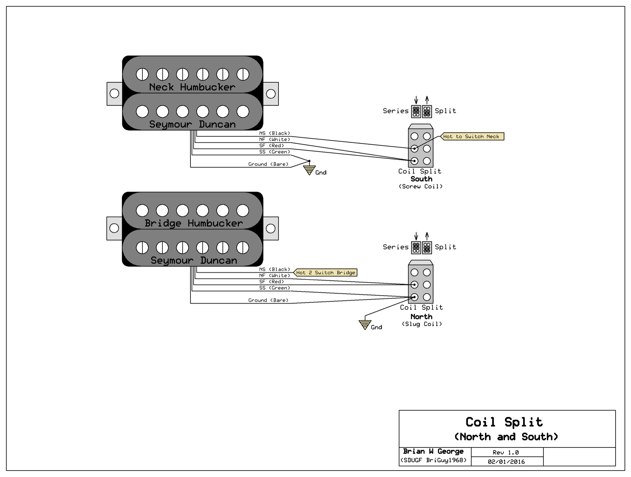 Notice that each of the splits uses only ONE side of the 2-way DPDT (you  can use either a mini toggle or a push/pull pot). Your split wire will do  the job ...