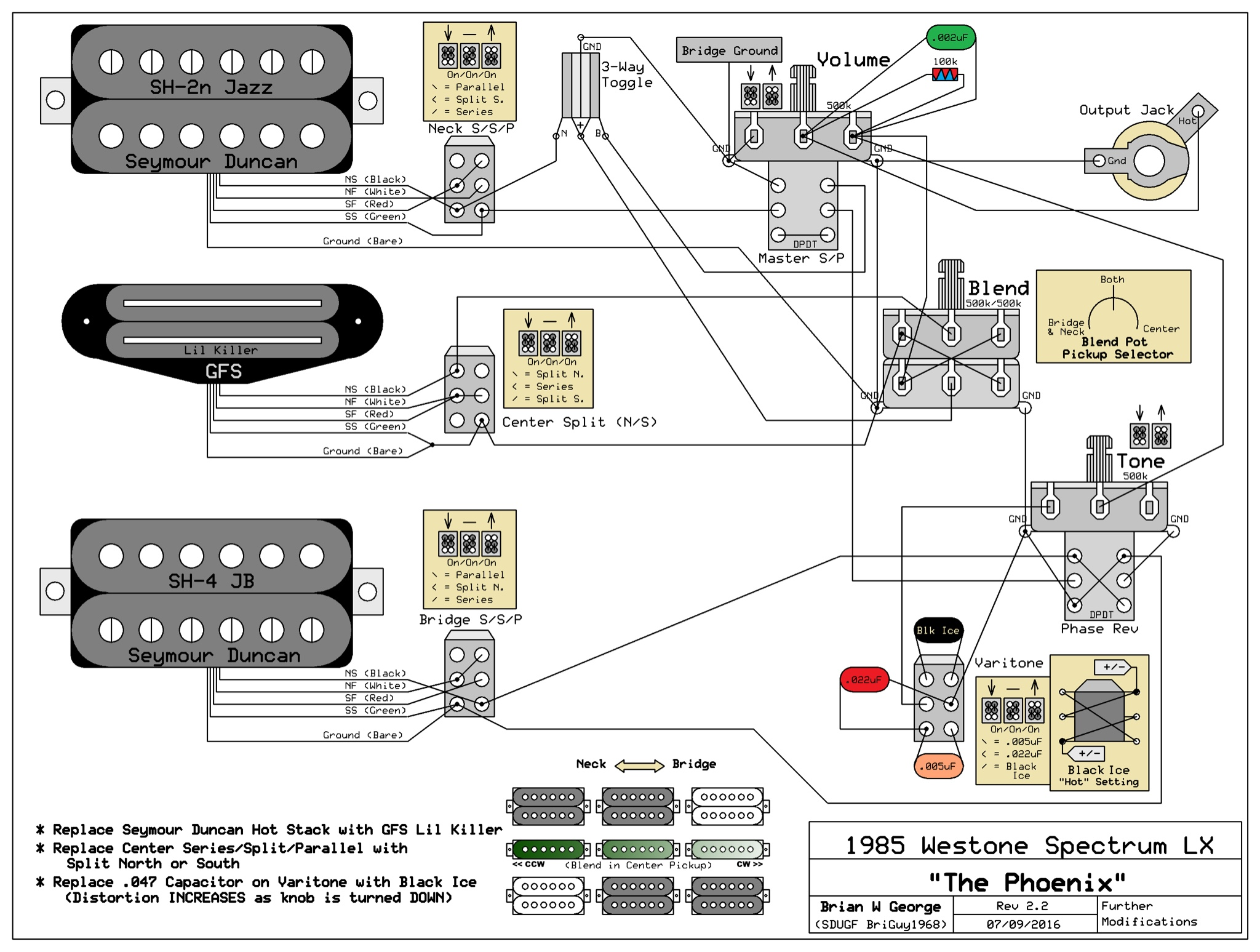 Emg Pickup Wiring 2 Schematics Diagrams Harness Diagram Bc Rich Warlock Guitar Circuit Maker For 81 85 Pickups 1 Tone Volume