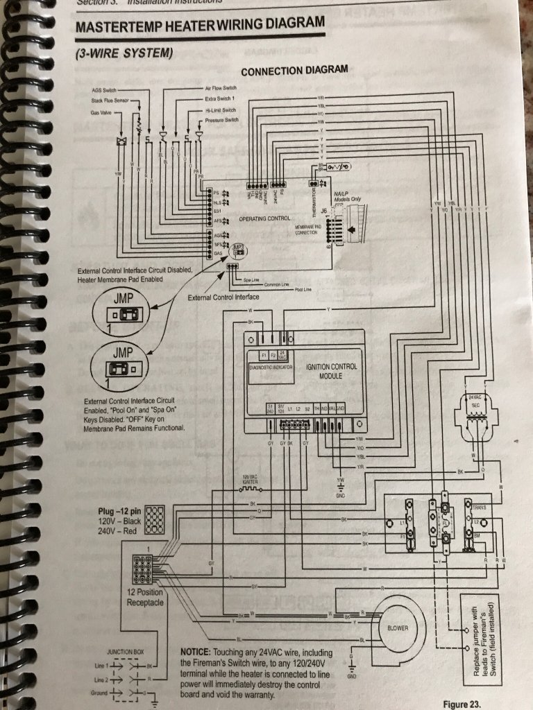 ... properly by pool guy, i am unable to find that jumper when i opened the  heater panel, anybody know where it is. I have attached pictures from my  manual