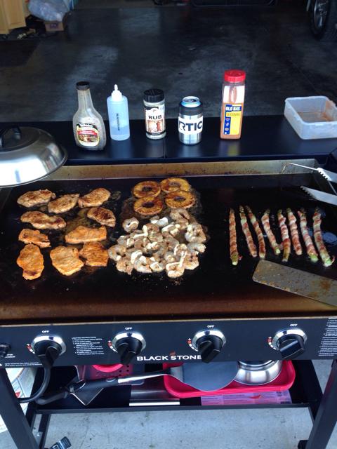 Blackstone 36 Griddle Pork Lion Shrimp Bacon Asparagus