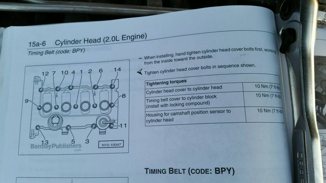bentley suggests a torque pattern for the bolts so i included that and the torque  specs