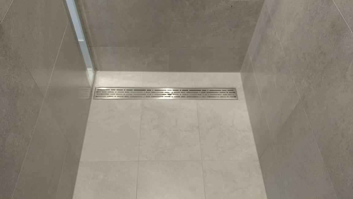 Shower strip drain installation