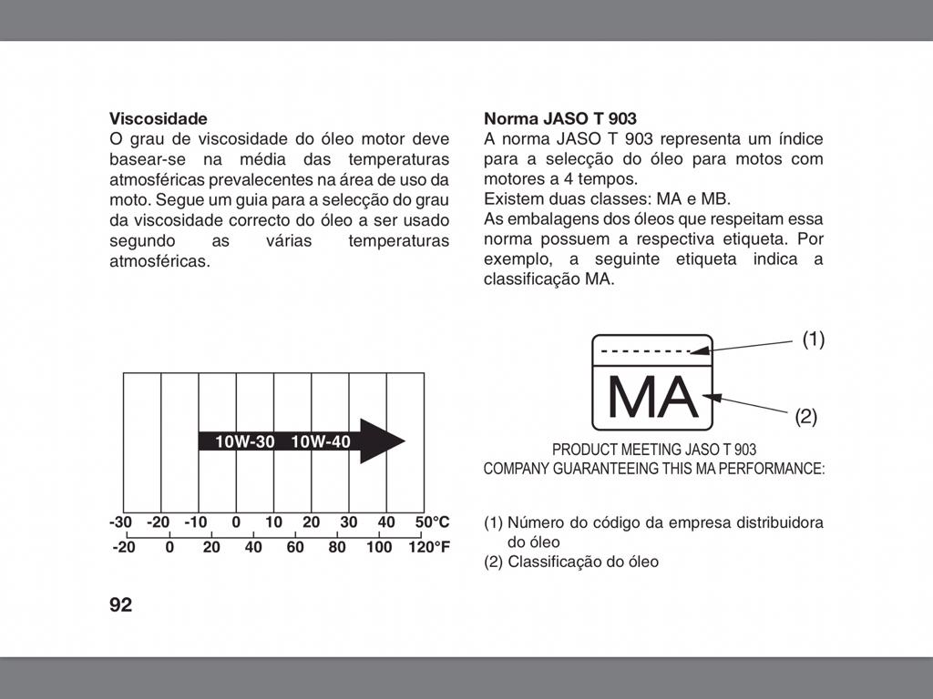 Marca de oleo usada na revisao/manutençao (e viscosidade)