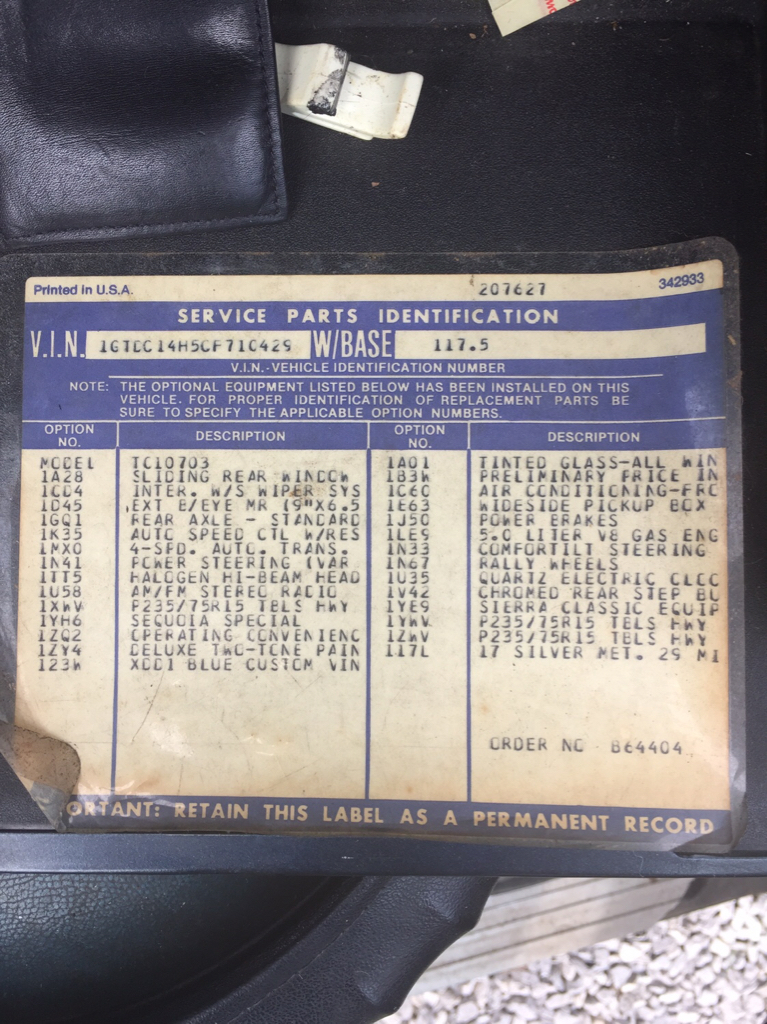 Help with 82 GMC RPO codes - 1973-1987 Chevrolet & GMC