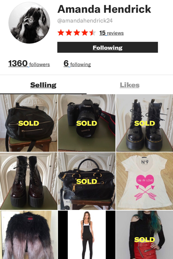 6b91531174fb11 ... sale on depop like prada bag, givenchy bag, doc martens boots she just  showed off in her lookbooks last year and even her barely used CAMERA AND  LENSES!