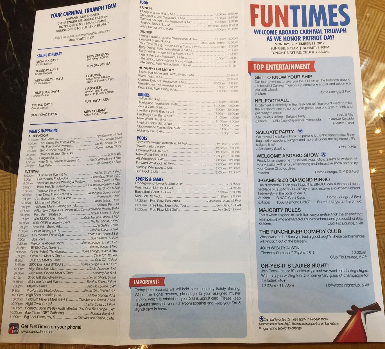 Carnival Triumph Fun Times 9 11 9 16 17 Cruise Critic
