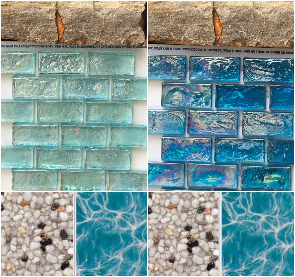 Iridescent glass tile on raised wall--blinding glare??