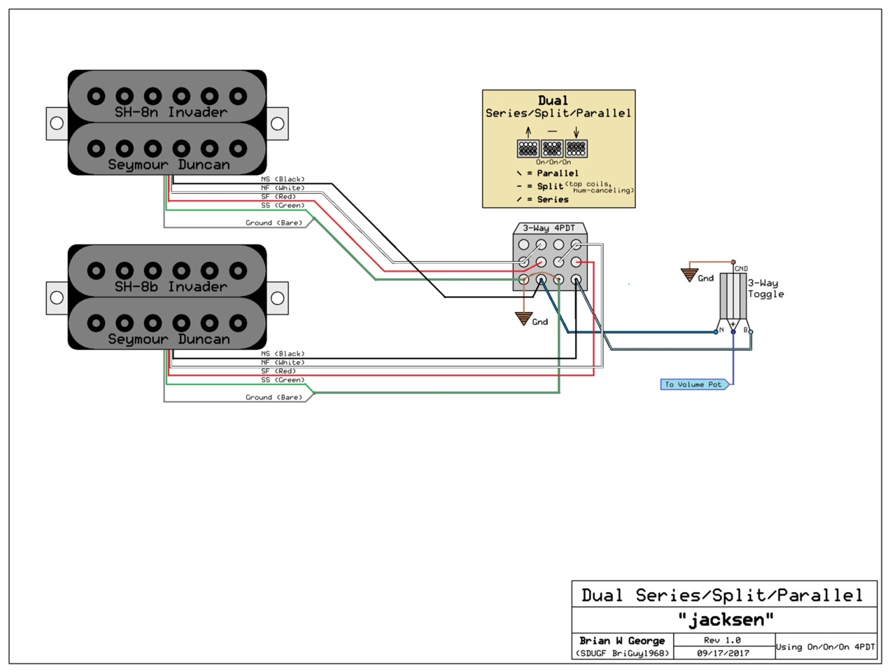 Wiring Helpplease 4pdt Diagram I Think If Were Using An On Id Do A Series Split Parallel That Would Affect Both Pickups At Once Something Like This