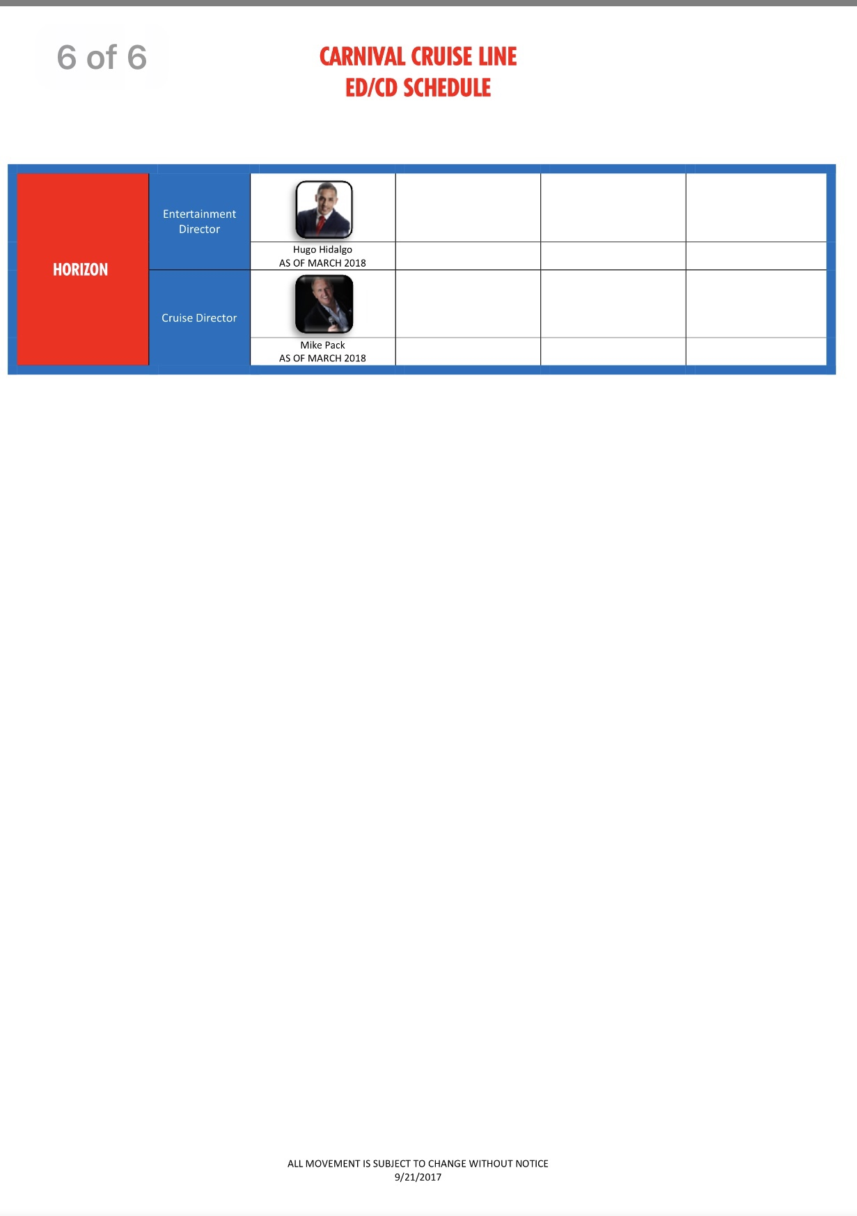 Carnival Cruise Director Schedule 2020.New Cd Schedule 9 22 2017 Carnival Cruise Lines Cruise