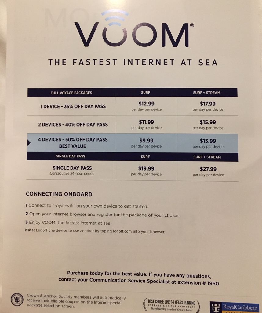 Cost of Voom 1 device surf and stream on board ship - Royal