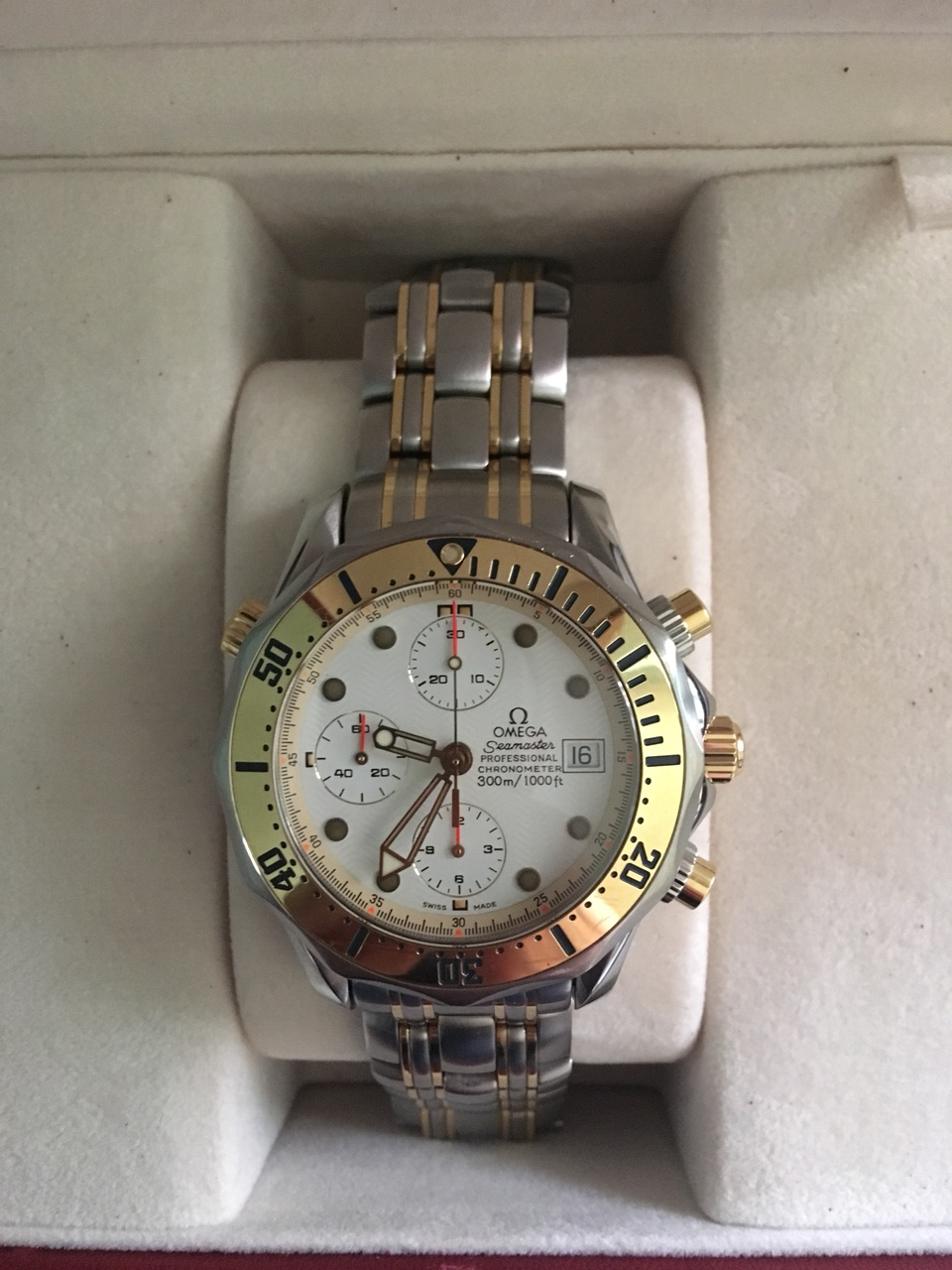 a840b3e1f68 Brand Omega Family Seamaster Diver 300m. Reference 2398.20.00. Name  Seamaster Diver 300M Automatic 41.5 Chronograph Stainless Steel   Yellow  Gold Bracelet