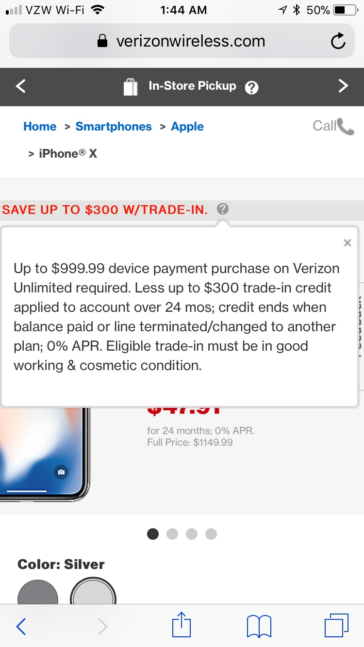 Verizon does offer some trade-in deals. Currently, you can buy an iPhone X, iPhone 8 Plus, Pixel 2, Pixel 2 XL, Galaxy S9 Plus, Galaxy Note 8, Moto Z2 Force, LG V30, or LG G7 on a device payment plan and get $ in trade-in credit, applied as monthly credit after billing cycles.
