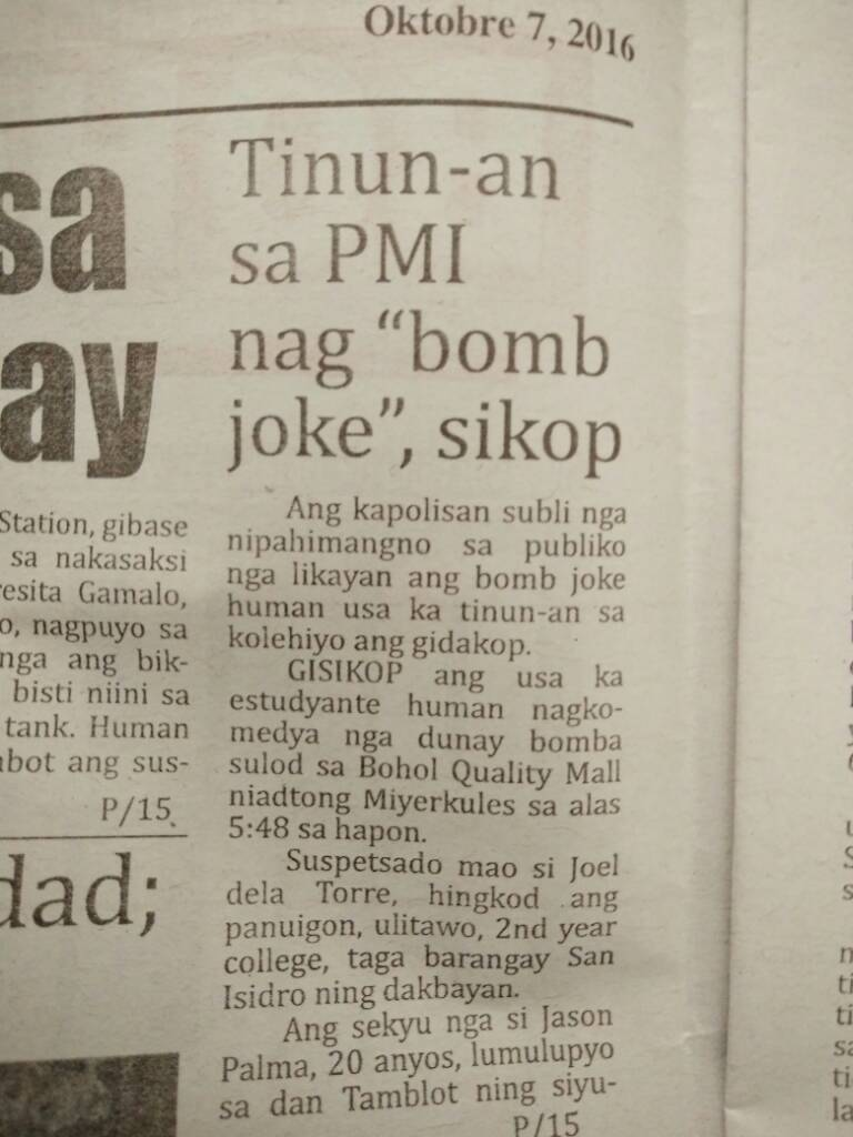 2706f5ee82beb9b8ba1fd93c8371059a - PMI Student Makes Bomb Joke Arrested - Bohol News Archive