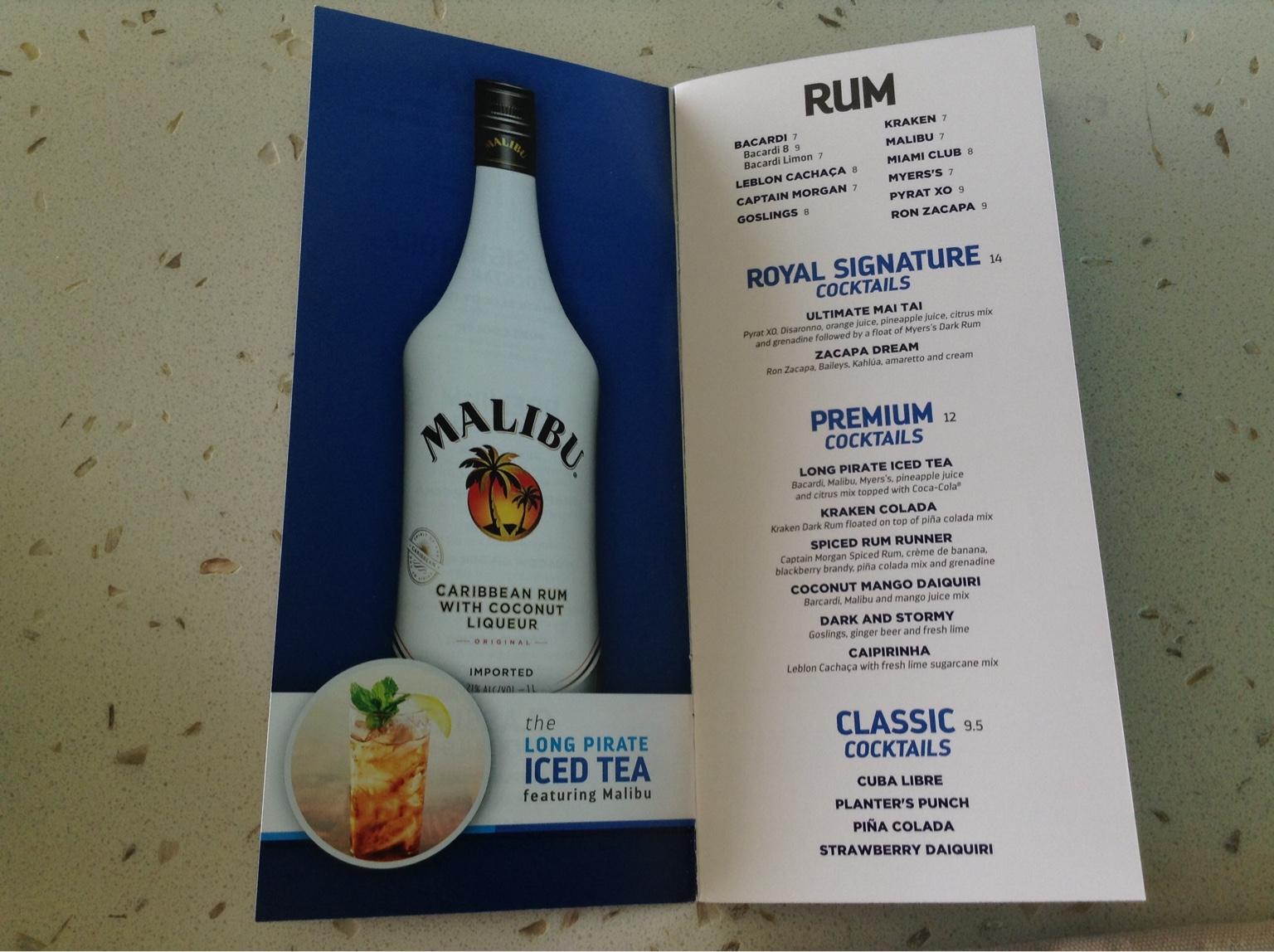Drink menu on Grandeur, October 2017 - Cruise Critic Message Board on zacapa xo rum, mount gay xo rum, doorly's xo rum, plantation xo rum, appleton xo rum, cockspur xo rum,