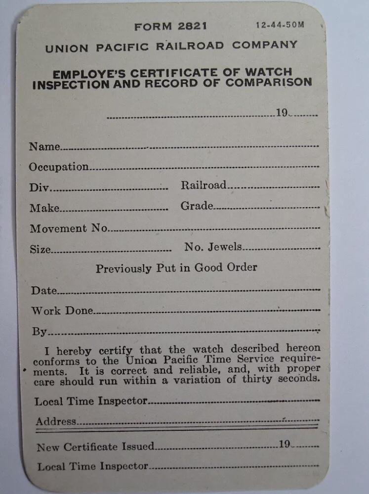 Railroad Watch Inspection Sheet (Union Pacific)