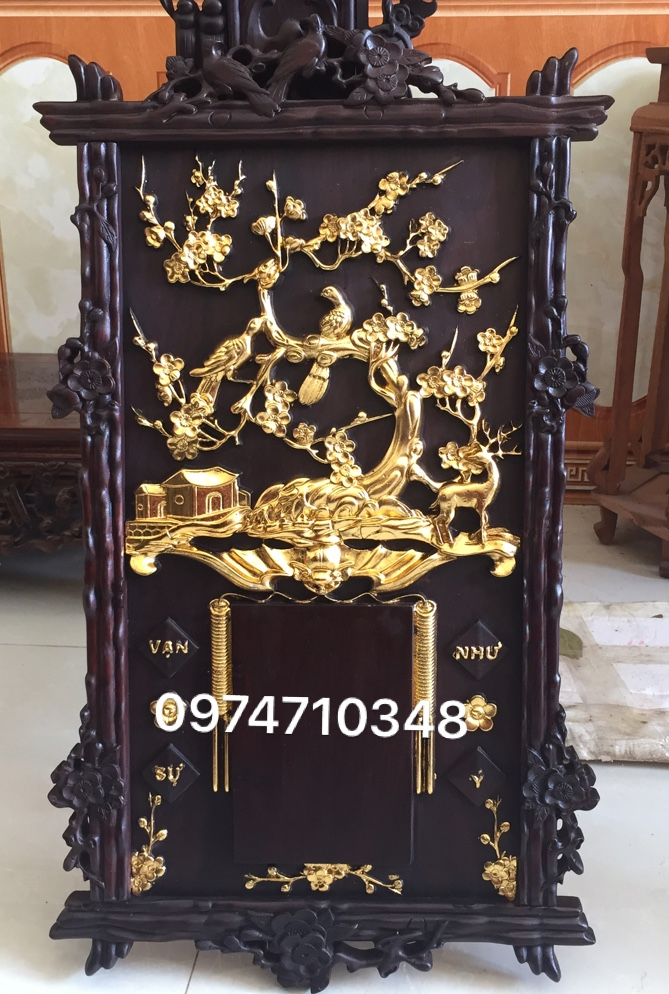 đốc lịch chim hoa mai thiếc vàng  dẹp lung linh   gỗ gụ kt dai 70cm rộng 40cm lh 0974710348