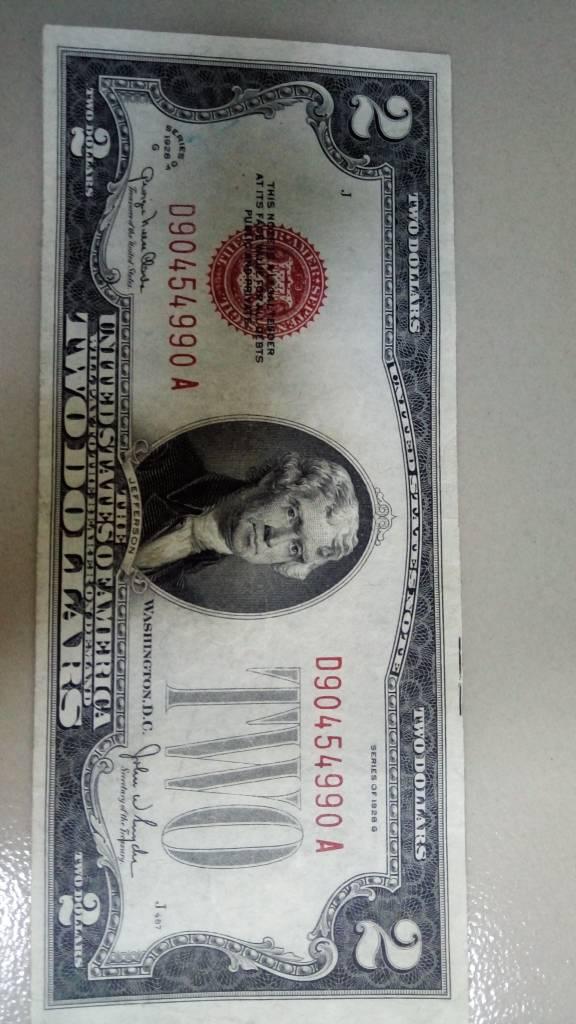 Tiền 2usd năm 1928. Số sêri đẹp