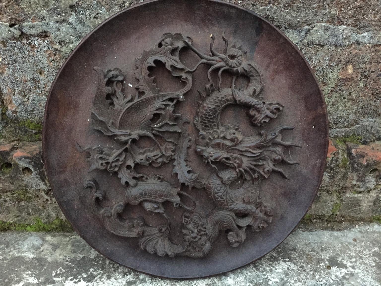 đĩa tứ linh gỗ gụ kích thiớc  32cm dầy 3,5p lh 0974710348