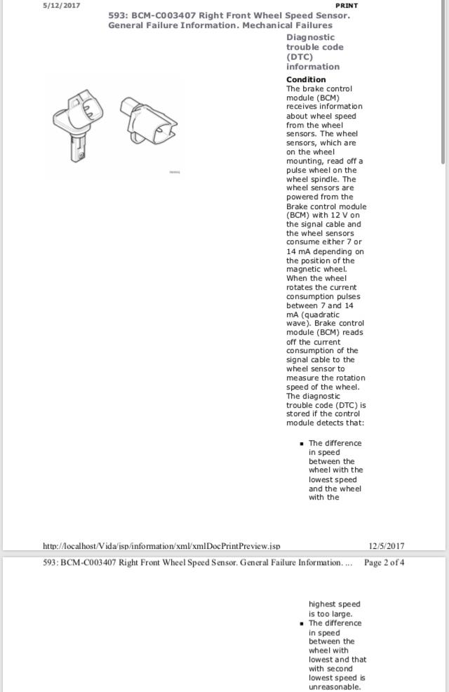 Front speed sensor abs : Volvo 31423572