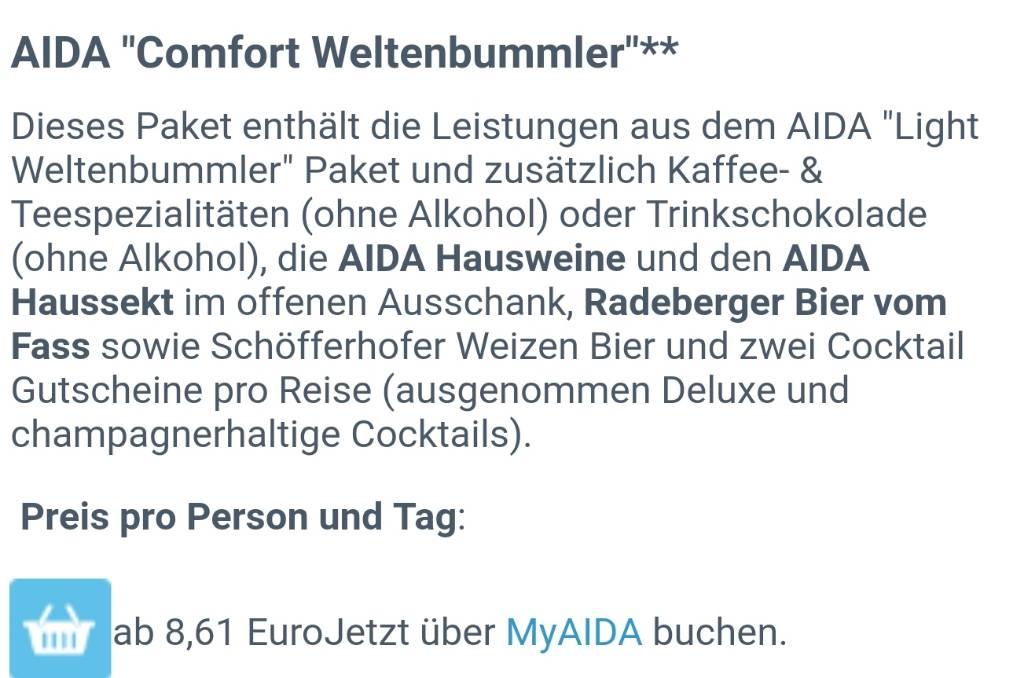 Alles zu Getränkepaketen & Barkarten bei Aida - Seite 187 - AIDA ...