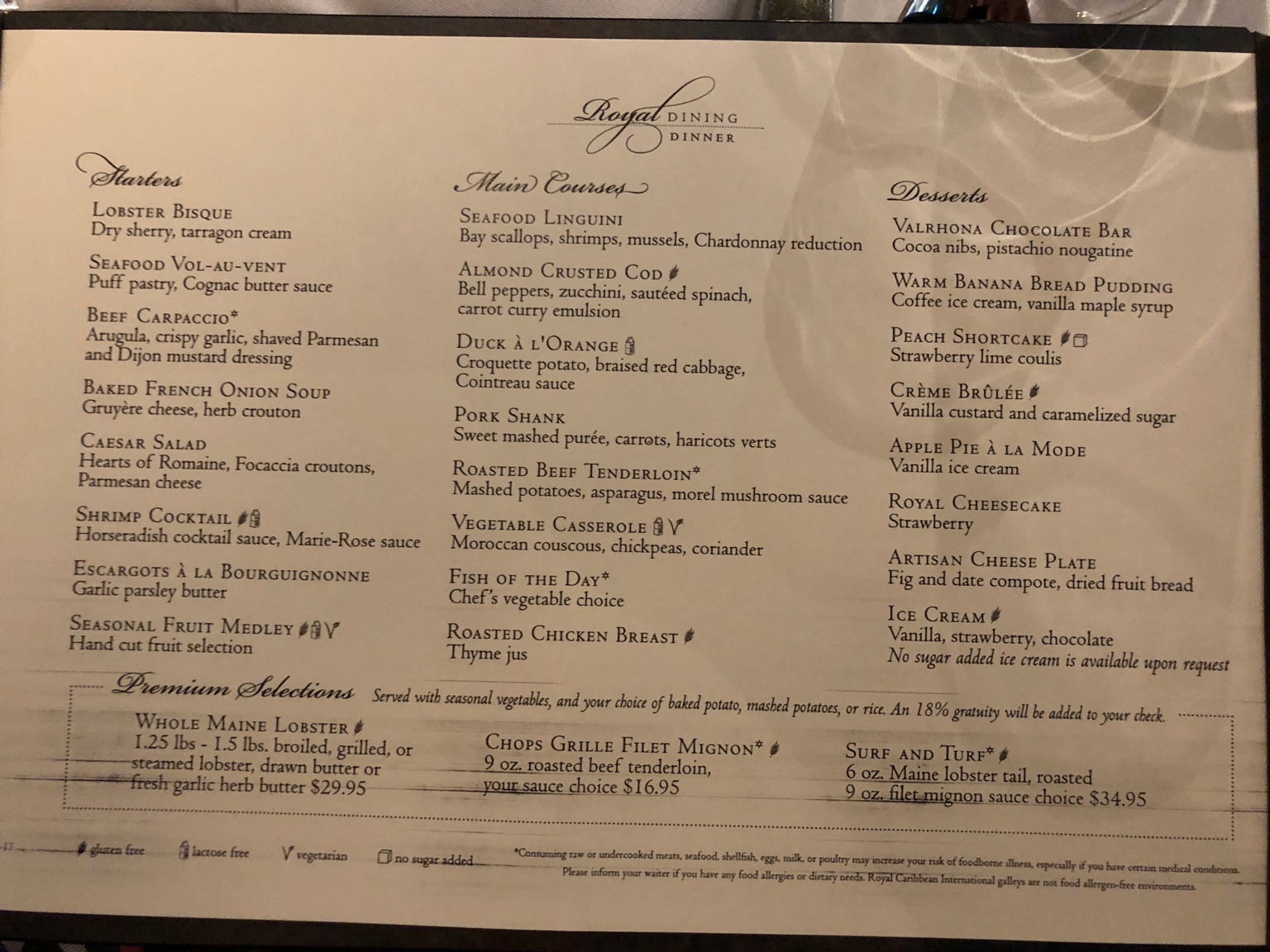 New Menu In The Main Dining Room Cruise Critic Message