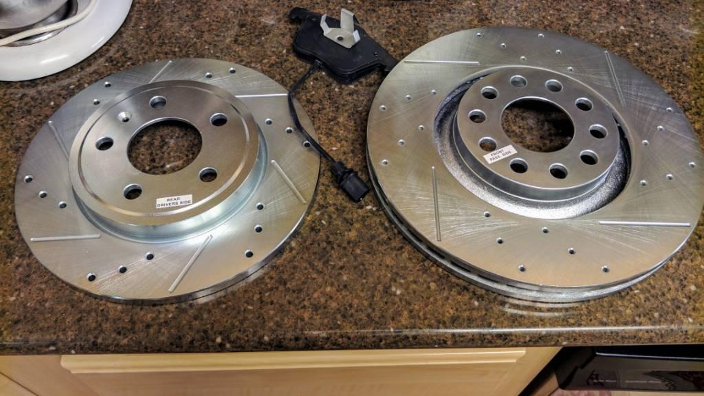 Front Drill Slot Brake Rotors For 2004 2005 2006 2007 2008 2009 Audi S4 B7 B8