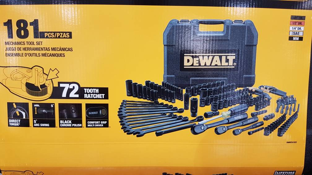 dewalt 181 piece mechanic took set - $99 @ costco - calguns.net