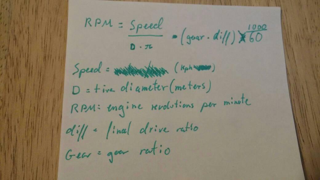 Tech tip : Gear ratio calculation formulae (Speed vs RPM)
