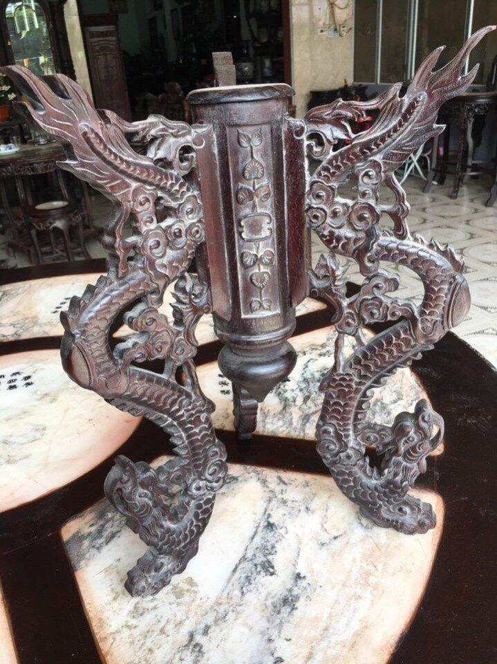 cặp trò hoá rồng  gỗ gụ  kt cao 45cm