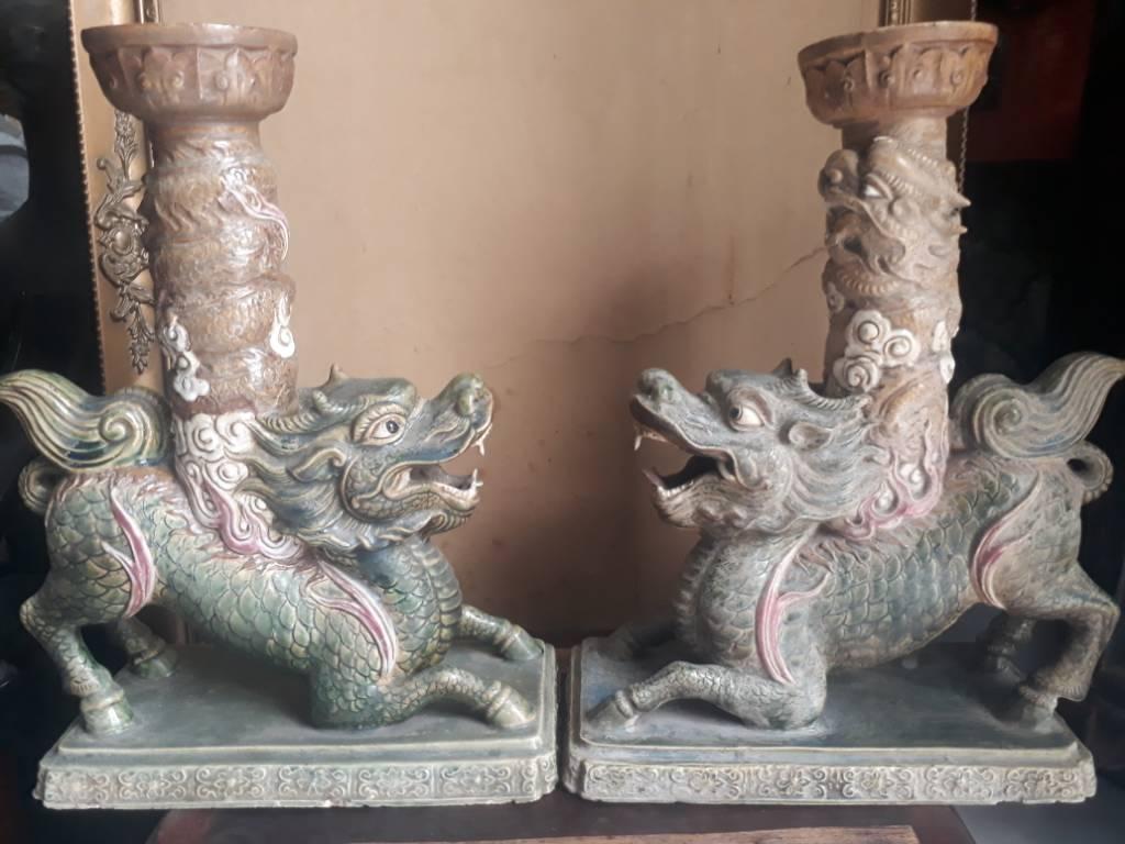Đôi lân chân đèn chuẩn cổ gốm Cây Mai
