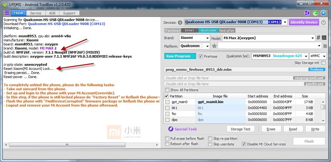 داونجريد + حذف Mi account لجهاز Mi Max 2 علي العملاق Ufi