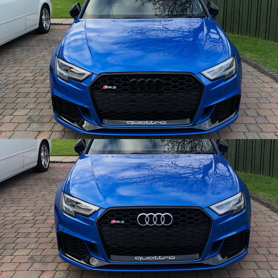 Facelift - Audi Badge and RS3 Badge Sizing - Gloss Black