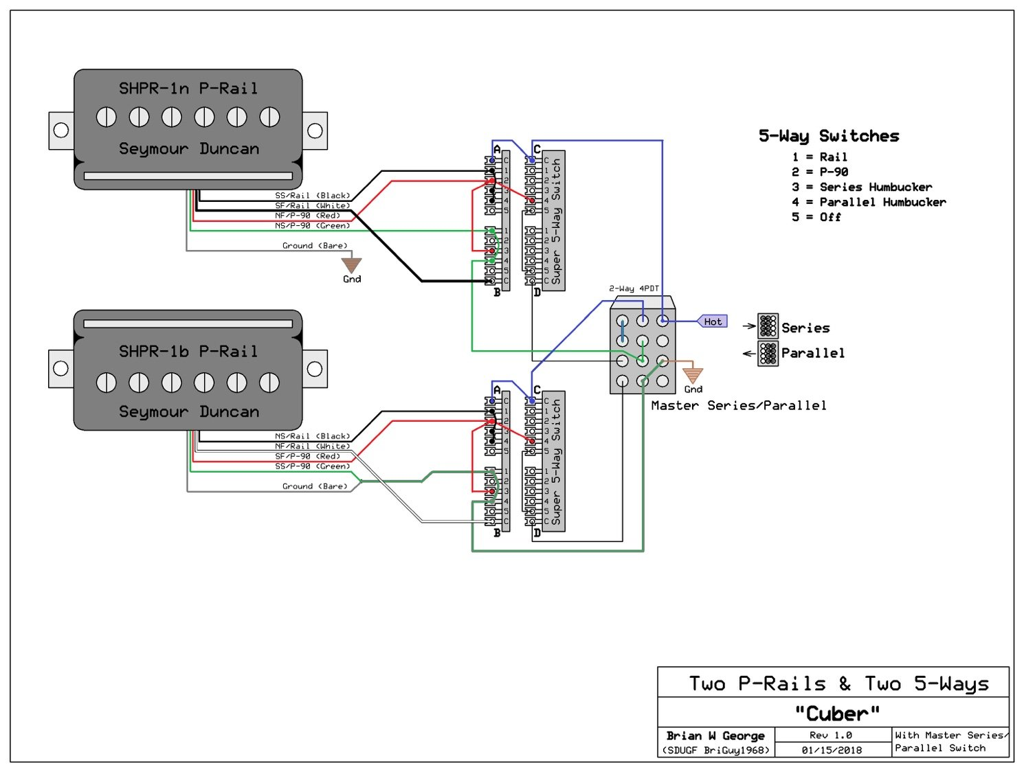 P Rails With 2 Five Way Switches 4pdt Wiring Diagram Let Me Know If You Have Any Questions