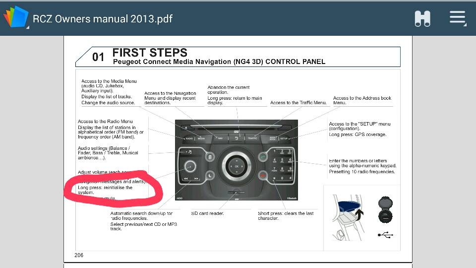 Peugeot RCZ Forum • Stereo reset : Ipods, MP3 Players and Sat Nav