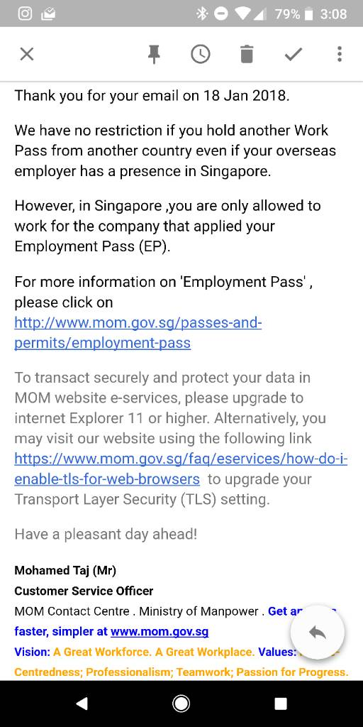 Can I be employed in SG and be on HK work/study/entrepreneur visa