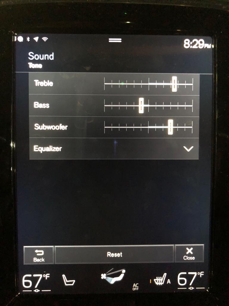 Volvo S60: Sound settings