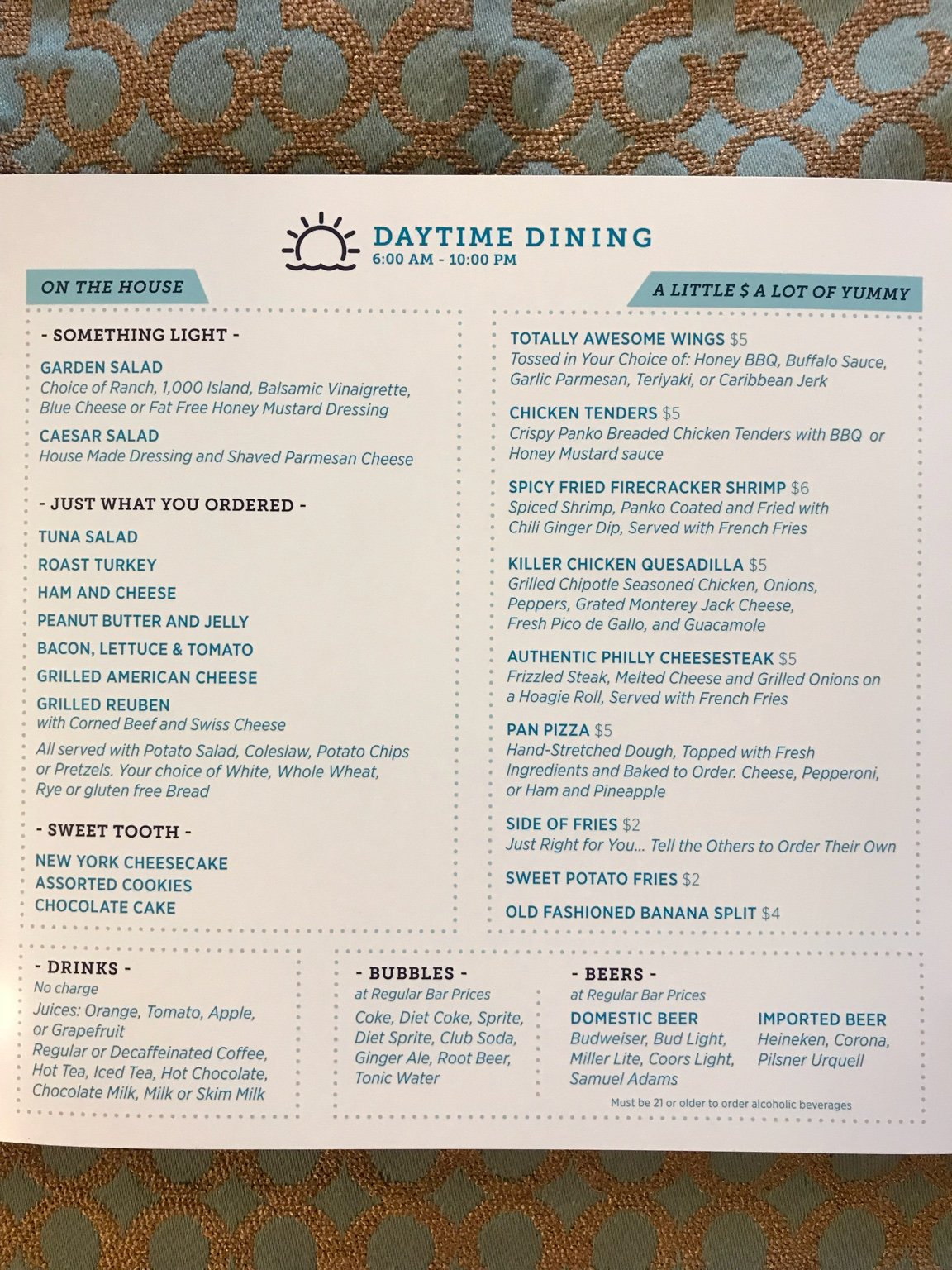 new room service menu carnival magic carnival cruise lines